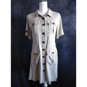 Promesa Tan Cream Linen Front Button Shirt Dress L
